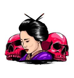 geisha skull with vintage vector image
