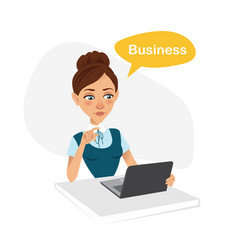 Girl is working at table with laptop business vector
