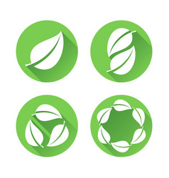 Green leaves icons vector