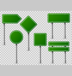green traffic signs road board text panel mockup vector image