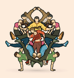 group people dancing hip hop street dance vector image
