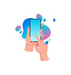hands holding mobile phone touch screen vector image