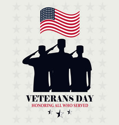 Happy veterans day waving us flag and soldiers vector