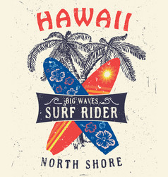 Hawaii north shore surf rider vector