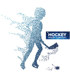 hockey player silhouette grunge halftone vector image