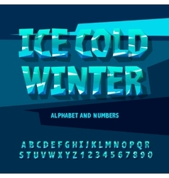 Ice letters and numbers vector