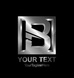 initial letter b logo template colored silver vector image