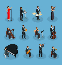 Isometric people in orchestra collection vector