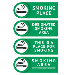 labels set smoking place stickers vector image