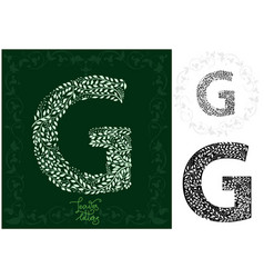 leaves alphabet letter g vector image