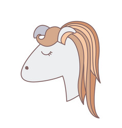 Light colors of face side view of female horse vector