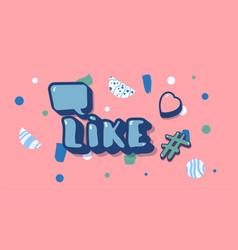 Like screen social media template vector