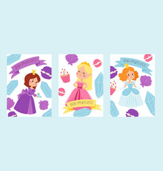 little princess girls in evening gowns banner vector image