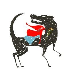 Little red riding hood fairytale vector