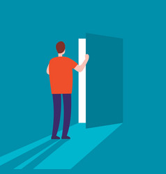 man opens the door vector image