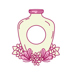 Mason jar with sticker and flowers design vector