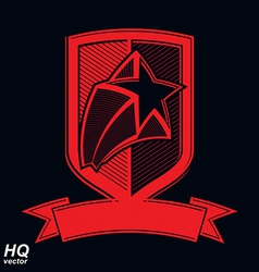 Military shield with pentagonal comet star vector