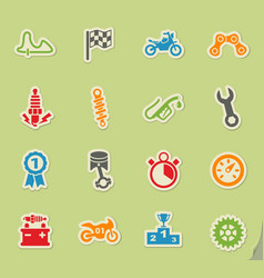 Moto racing icon set vector