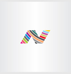 n colorful icon logo letter vector image