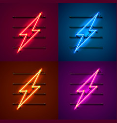 neon sign lightning signboard vector image