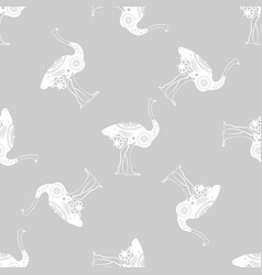 ostrich bird monochrome graphic animal vector image