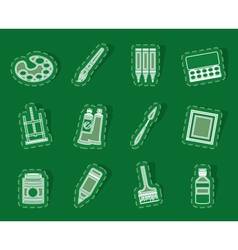 Painter drawing and painting icons vector