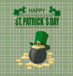 patrick s day a pot of gold coins the green hat vector image