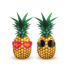 Pineapple in sunglasses realistic summer fruit vector