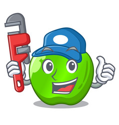 Plumber green smith apple isolated on cartoon vector