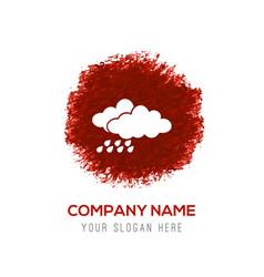 Rain cloud icon - red watercolor circle splash vector