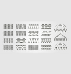 set bundled wave icon logo minimal design line vector image