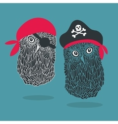 Set of two owl pirates vector image