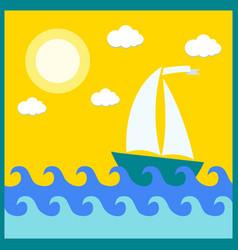 Ship sailing on waves summer vector