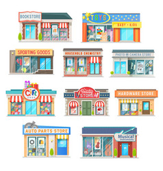 Shop and store building isolated icons vector