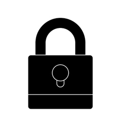 Silhouette padlock with black body and shackle vector