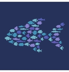 Simple plain style big fish mosaic vector image