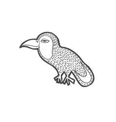 sketch drawing cartoon doodle tropical bird vector image
