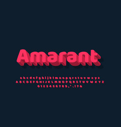 Soft red 3d text effect or font effect design vector