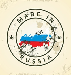 Stamp with map flag of Russia vector image
