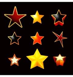 Stars set on black vector image