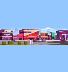 Store buildings shopping area with parking area vector