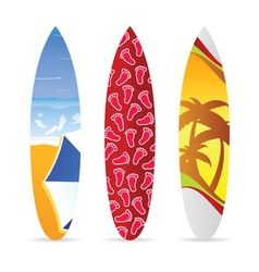 Surfboard with beach item on it set vector