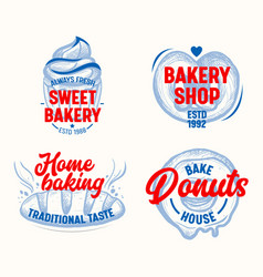 sweet bakery labels set isolated on white vector image