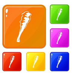 Truncheon icons set color vector
