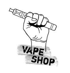 vape shop with hand holding electric tool vector image