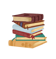 vertical stack old historical books in vector image