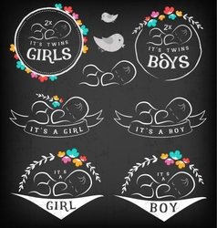 Vintage Baby Girl Boy and Twins Badge Set vector