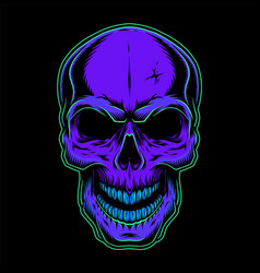 Vintage colorful skull concept vector