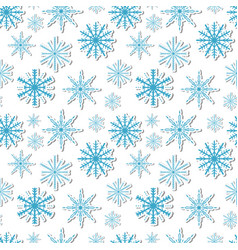 volumetric snowflakes seamless pattern new year s vector image
