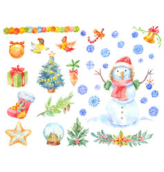 Watercolor christmas stickers set of hand-drawn vector